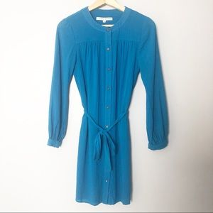 Trina Turk Blue Button up Long Sleeve Dress Size 0